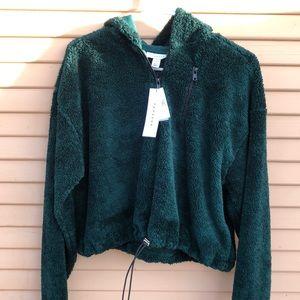 Forest Green Cropped Borg Half Zip Sweatshirt